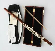 Prof Grendadilla rose Wooden16 Hole Flute C Foot Italian pad with Wood Case
