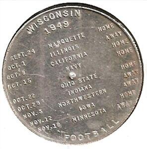 Wisconsin Badgers 1949 Football Schedule- Kingsbury Beer Coin