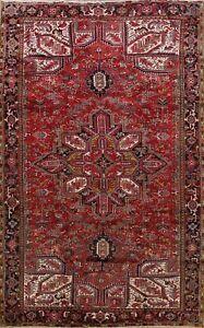 Vintage Geometric Heriz Traditional Area Rug Wool Handmade Oriental 9x12 Carpet