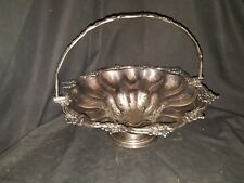 Unbranded Floral Design Silverplate Handled Basket Serving Bowl Scalloped USED