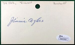 JIMMIE DYKES JSA CERTIFIED BASEBALL AUTOGRAPH INDEX CARD 3X5