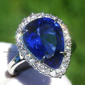 Tanzanite Ring Gold Diamond Natural NO HEAT 8.13CTW GIA Certified RETAIL $15800