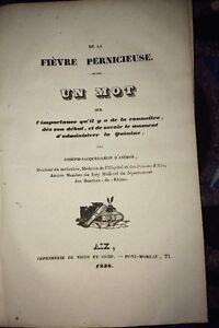 MÉDECINE. DE LA FIÈVRE PERNICIEUSE ET DE LA QUININE, 1838.