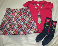 Gymboree Smart and Sweet pink polo tie top & plaid skort skirt set 10 girls'