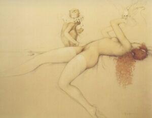 Michael Parkes DOVES nude redhead girl w monkey birds fantasy surreal art print