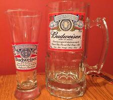 SET (2) XL BUDWEISER BEER STEIN & FLUTED GLASS - ANNHEUSER-BUSCH - Bonus Prize!!