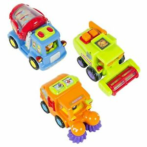 Set of 3 Kids Push-and-Go Friction Powered Cars, Cleaner, Mixer Truck, Harvester