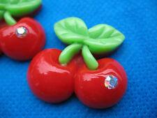 20 Cherry Resin Flatback Button w/Rhinestone-Red B108