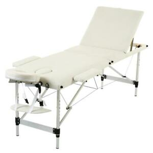 """84"""" Foldable Tattoo Salon Facial Bed Health Beauty Massage Table Chair White"""