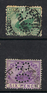 WEST AUSTRALIA 1885 - 1912 1/2d & 6d SWAN PERFORATTED OS