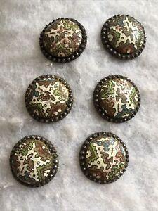 Antique Set 6 Buttons Georgian 1810s 1820s Cut Steel Cloisonné Enamel Retro Old