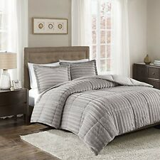 Madison Park MP10-3070 Duke Faux Fur Comforter Mini Set Grey Full/Queen NEW