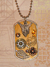 Fairy Angel Steampunk Flowers Collage Pendant Dog Tag Necklace Mixed Metals D157