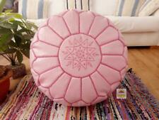 Leather Pouf pink Ottoman pouf with Stitching Moroccan Leather pouf unstuffed