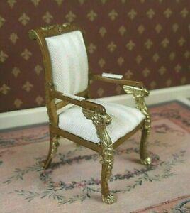 EMPIRE  ARMCHAIR ~ BESPAQ ~ Dollhouse Mini ~ 1:12 scale ~ Custom Gold Detail