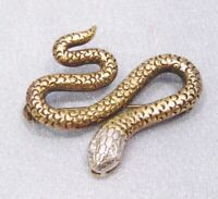 Vintage Sterling Silver Vermeil Serpent Snake White Crystal Eyes Pin Brooch