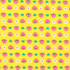 """LECIEN """"LOVELY PUNCH"""" STRAWBERRY Yellow by 1/2 yard"""
