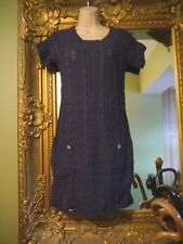 Ladies white stuff lovely blue cable knitted long jumper dress size 8