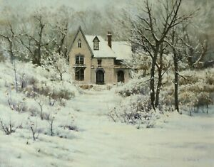 Jerry Inman Victorian Winter Original Landscape Home Snow Oil Painting 24x30