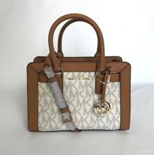 NWT Michael Kors Handbag Signature PVC Small Satchel Crossbody Bag Vanilla $268