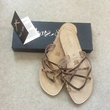 Phase Eight Shoes Size 6 Bronze Leather Strappy Flats New