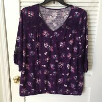 NWT St. John's Bay Women's 3/4 Sleeve Purple Print w/Lace Trim Top Size 0X