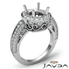 Oval Semi Mount Halo Pave Diamond Engagement Milgrain Ring 14k White Gold 1Ct