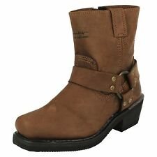 LADIES HARLEY DAVIDSON HARNESS ZIP UP BROWN LEATHER ANKLE BIKER BOOTS