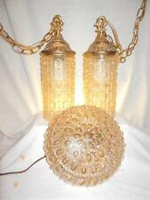Mid-Cent. HOLLYWOOD REGENCY DOUBLE SWAG & FLUSH CEILING FIXTURES Carnival Glass