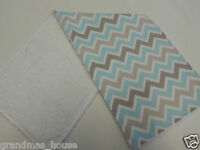 Blue and Grey Chevron Burp Cloth - 1 Only Towelling Back GREAT GIFT IDEA!!