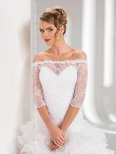 Womens Bridal Ivory/White Lace Over-top Bolero Shrug Wedding Jacket S/M/L/XL