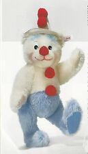 """STEIFF """"TEDDY BEAR CLOWN"""" EAN 037528 MOHAIR TEDDY BEAR CLOWN BLUE/WHITE/RED"""
