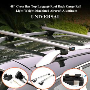 "48""Aluminum Cross Bar Top Luggage Roof Rack Cargo Rail Car SUV Silver High Load"