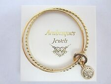 ARABESQUES DOUBLE TREE OF LIFE CHARM BANGLE/GENUINE WITH SWAROVSKI CRYSTAL. GOLD