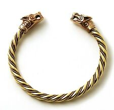 Bronze Norse Viking Mjolnir Wolf Head Twisted Cable Bangle Cuff Bracelet Arm ...