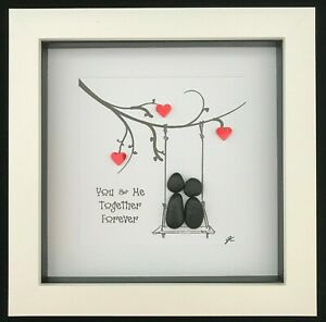 Personalised Pebble Art Picture Gift Couple Together Forever Hearts Love Romance