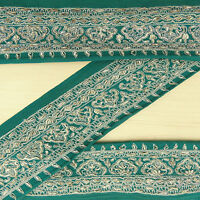 Vintage saree Border Indian Green Trim Wrap Used Sari Sewing 1YD Embroidered