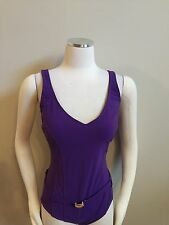 Kenneth Cole Grape Purple One Piece Swim Bathing Suit Belted 8 Excellent