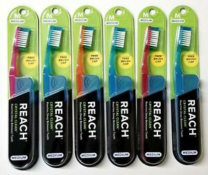 6 Reach Toothbrush Crystal Clean MEDIUM Toothbrushes Bristles - FREE SHIPPING