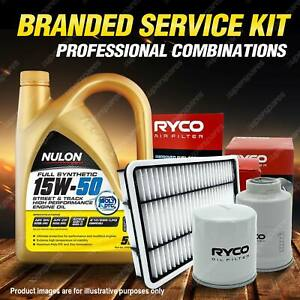 Oil Air Fuel Filter + 5L SYN15W50 Service Kit for Holden Astra TS II 1.8L 99-01