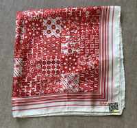 "Vintage ECHO Chinon /  Silk  Scarf Tag Red and White  27"" Square Hand Rolled Hem"