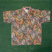 Vintage PATAGONIA Organic Cotton Hawaiian Fish Short Sleeve Button Up Shirt - L