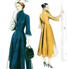 V9280 Vogue 9280 Sewing Pattern Vtg Design 1940 Wide Collar Flare Coat Sz 6-14