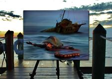 """Jaws Art Print """"Ahab 1975"""" - Great White Shark Quint Painting Signed by Tom Ryan"""