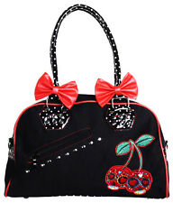 Banned Cherry Bomb Sugar Skull Candy Polka Dot Bow Handbag Rockabilly Black Red