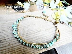 Raw Turquoise Anklet Foot Gemstone Bracelet Boho Beach Summer Feng Shui