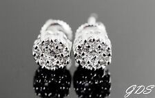 Men's Women's 14K White Gold Tone Screw Back Cluster Fancy Earring Lab Diamond