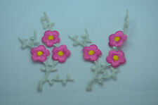 2pcs PINK FLOWERS SILVER STEM  Embroidered Iron On Cloth Patch Badge APPLIQUE