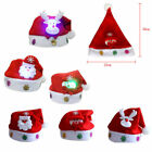 LED Christmas Cap Kids Child Soft Plush Santa Claus Holiday Fancy Dress Hat RED