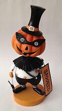"Halloween Bobble Head Pumpkin Man Figurine Statue Decoration 11"" tall Jol"